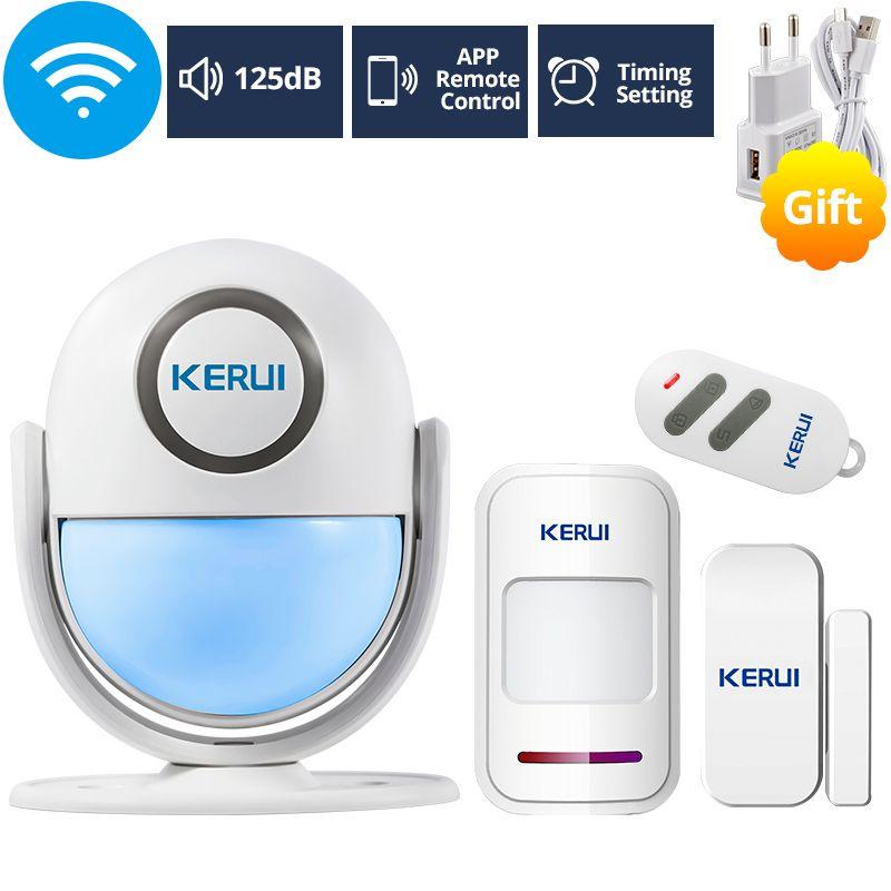 KERUI WIFI système d'alarme de sécurité à domicile fonctionne avec Alexa Smart App 120dB PIR panneau principal porte/fenêtre capteur alarme antivol sans fil