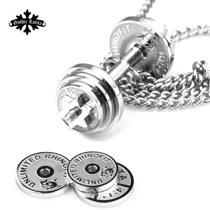 Dumbbell Splicing pendant necklaces Men's stainless steel fitness barbell Removal jewelry