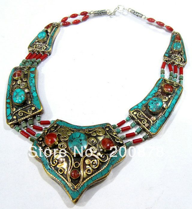 TNL525 Master Design Charmsing Nepal Indian brass inlaid turquoise coral pendant necklace,16'',2013 Ethnic BOHO Free ship
