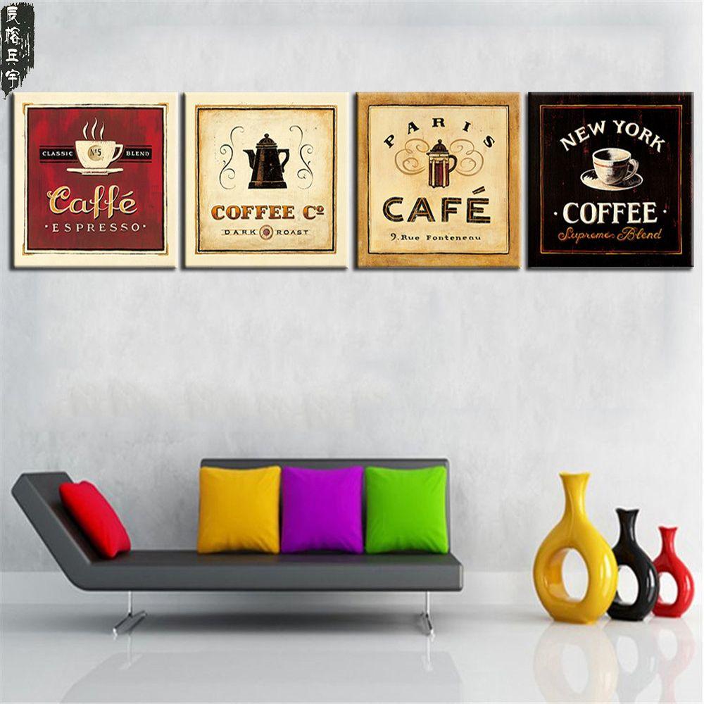 Non encadré tasse de café thé affiche moderne toile impression peinture à l'huile mur Art photo pour cuisine salle décoration œuvre 4 panneau
