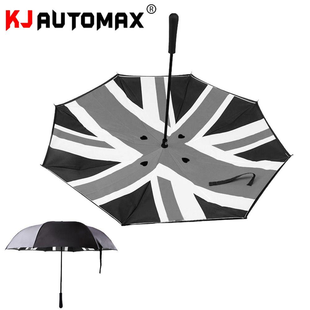 NEW Black Union Jack Manual Folding Up Compact Umbrella Interesting funny useful Mini Cooper Style