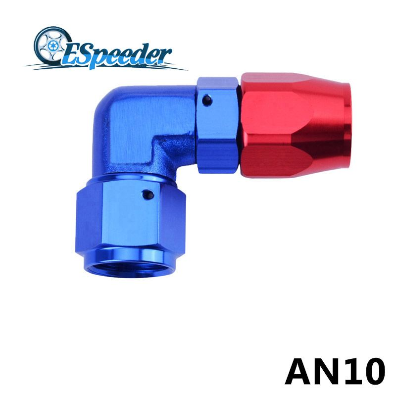 AN 10 Oil Fuel Line Hose End AN10 Fitting 90 Degree Anoized Aluminum Enforced Elbow Hose End  Oil Fuel Line Adapter Fuel Fitting