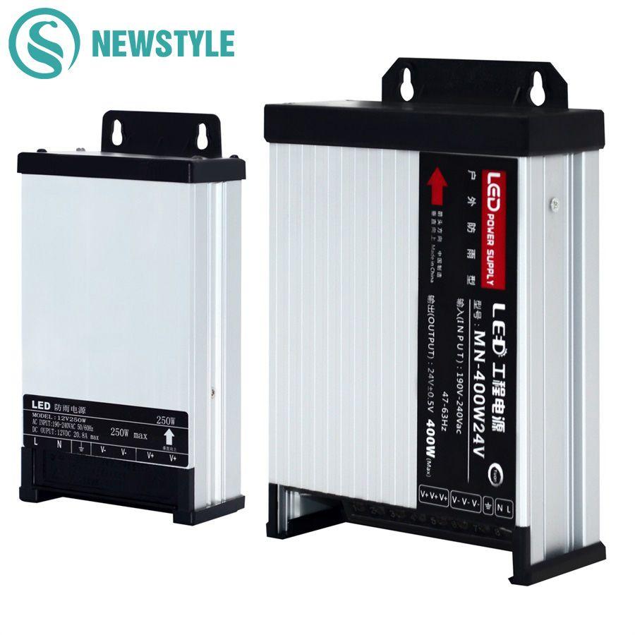LED alimentation extérieure étanche à la pluie DC12V 60 W 120 W 200 W 250 W 400 W DC24V LED transformateurs d'éclairage de conducteur