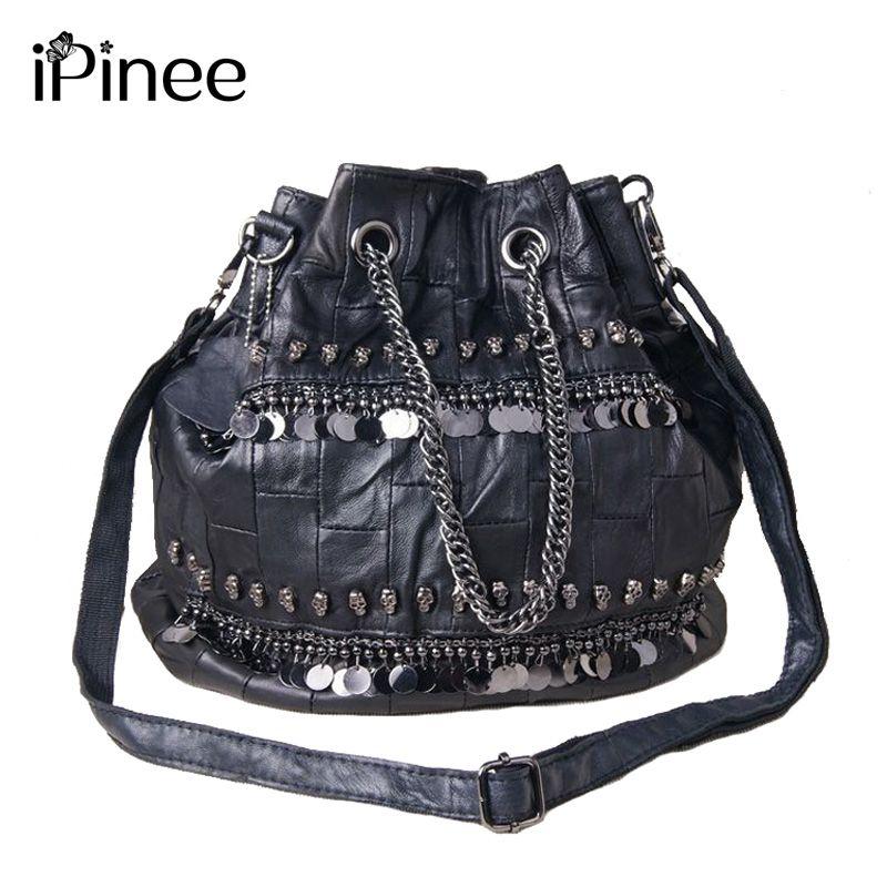 iPinee Famous Brand Women Messenger Bag 2018 Genuine Leather Handbags Crossbody Sequined And Skull Decoration