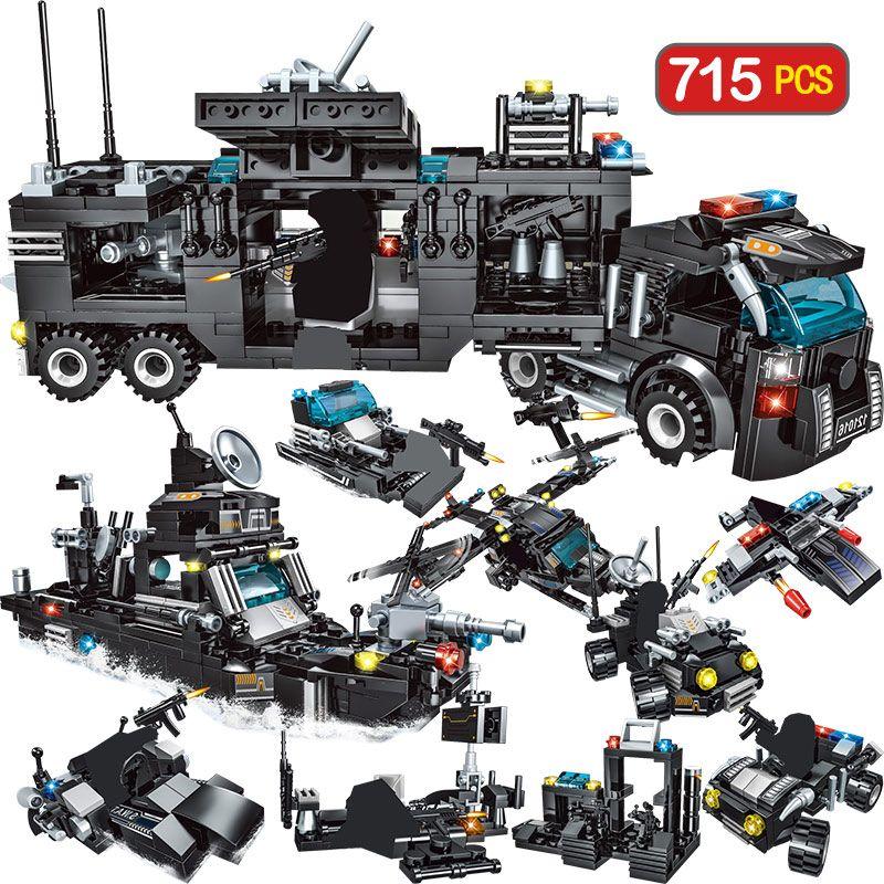 715pcs City Police Station Building Blocks Compatible City SWAT Team Truck Blocks Educational Toy For Boys Children