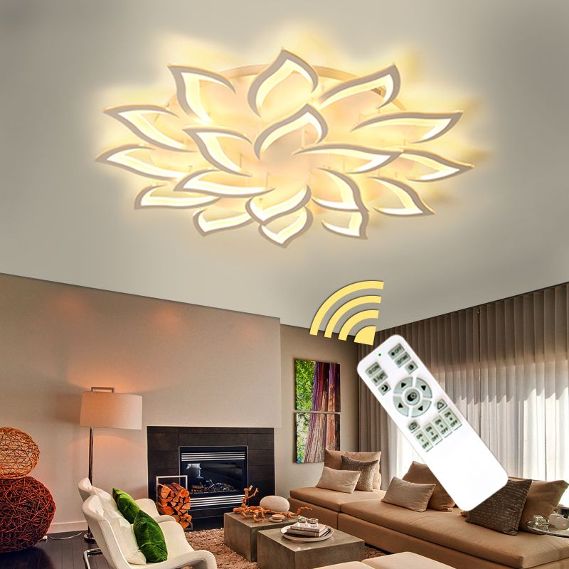 Modern LED Chandeliers For Living Room Bedroom Dining Room White Finished Chandelier Lights Home lighting Fixtures AC110V AC220V