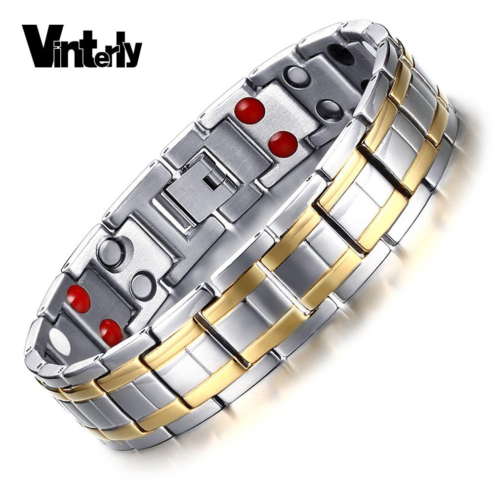 Vintely Or-couleur Bracelet En Acier Inoxydable pour Hommes Germanium Chaîne Lien Double Rangée Bracelet Magnétique Bracelet pour Hommes Bijoux
