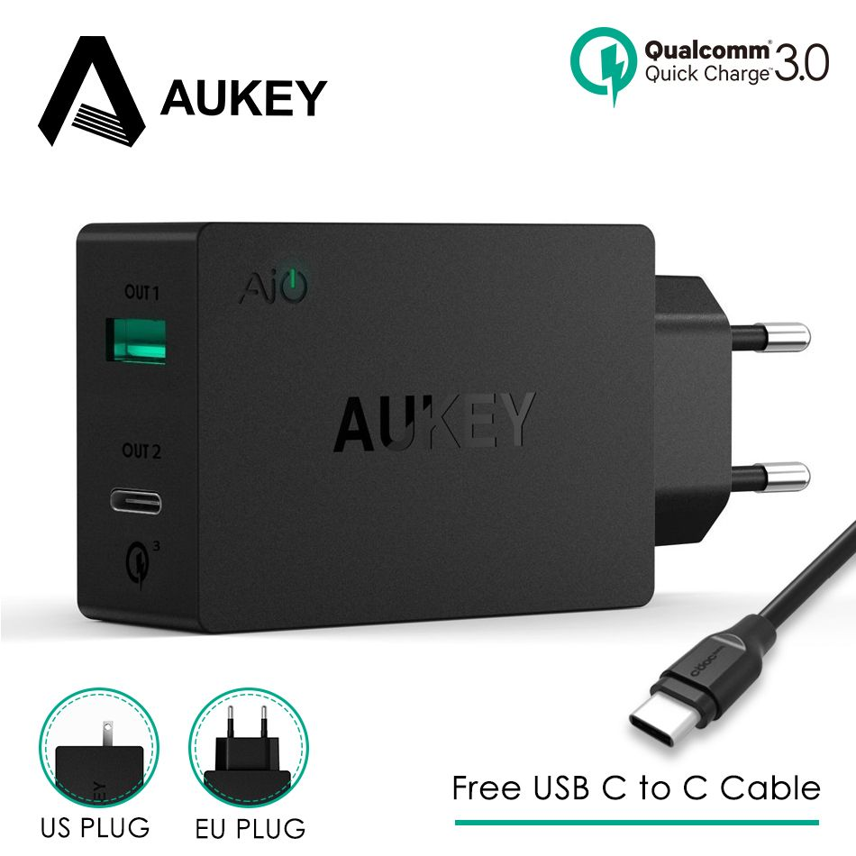 2-in-1 Phone Charger Universal AUKEY USB Charger Type C Quick Charge 3.0 Mobile Wall Travel Charger for Samsung Galaxy S8 Xiaomi