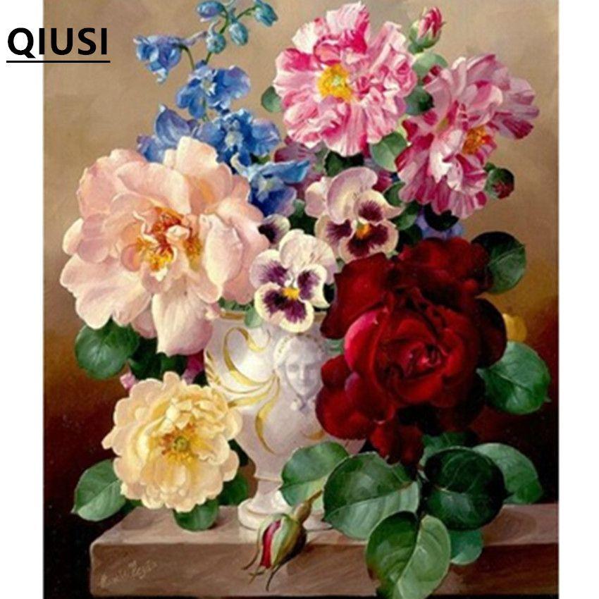 Couture, bricolage point de croix, ensemble pour kit de broderie, vase de table rose pivoine fleur imprimé motif point de croix travail à la main peinture