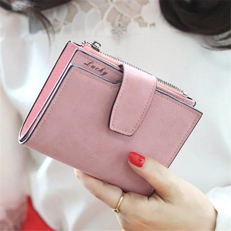Mode Kleine Weibliche Geldbörse kurz geldbörse Dame Brief Druckknopf Reißverschluss Kurze Kupplung Geldbörse Solide Vintage Matte Frauen Brieftasche