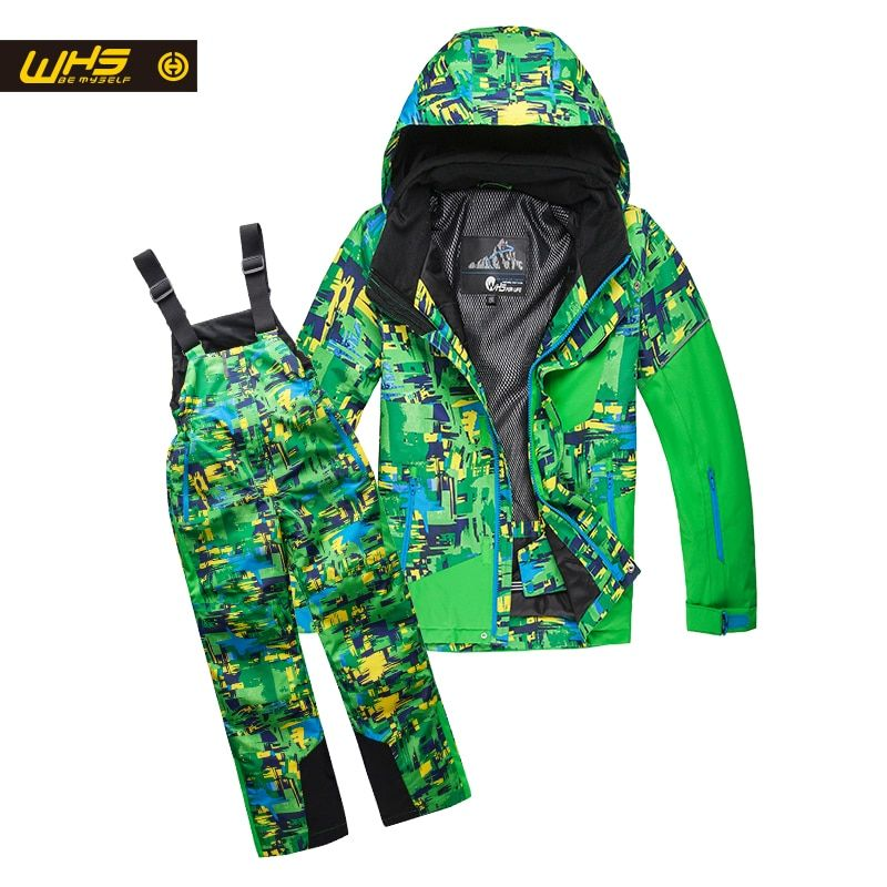 WHS Boys ski suit snow jackets & pants children skiing coat trousers Kids waterproof clothing windproof jacekt pant 4-16 years