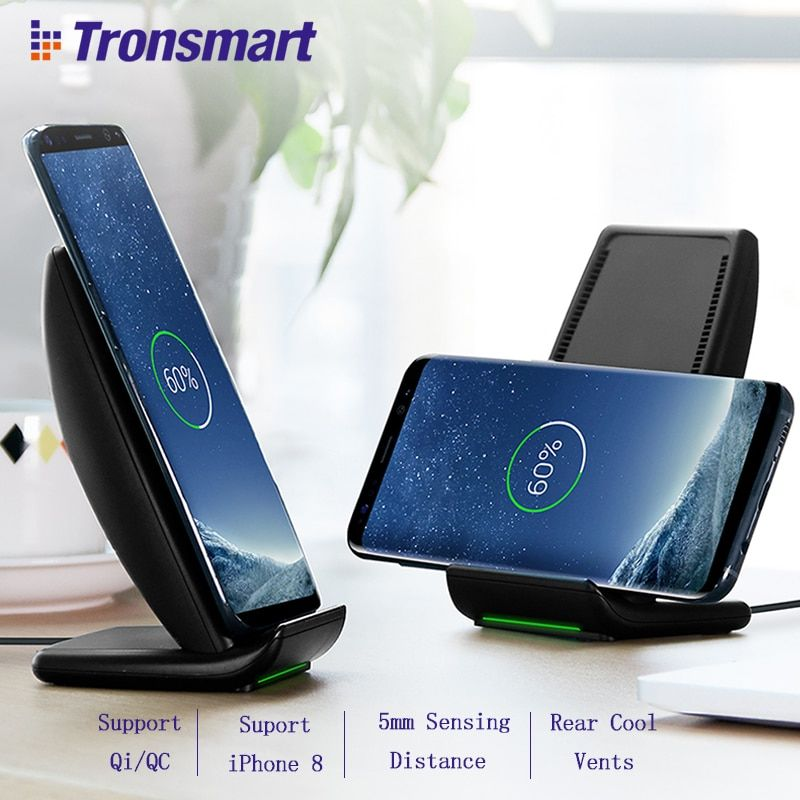 Tronsmart WC01 Fast Wireless Charger Battery Charger Power Bank for iPhone X,iPhone 8/8 Plus,Galaxy S8, Note 8,Qi-Enabled Device