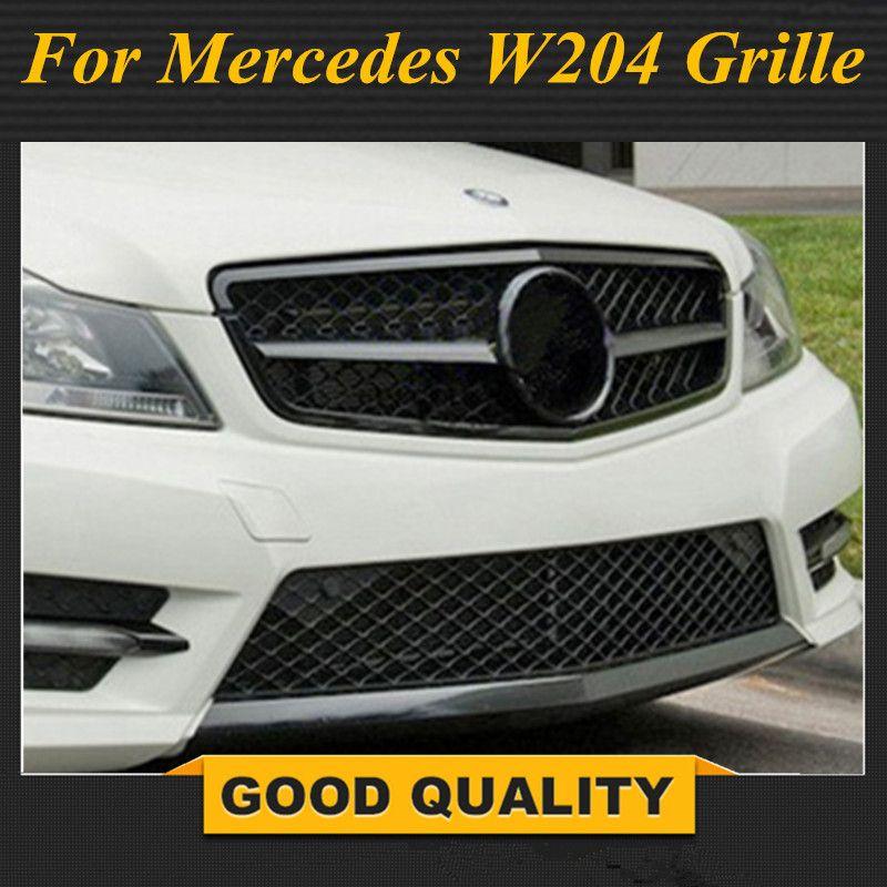 Matt/Glanz Schwarz Auto Racing Grille Für Mercedes W204 Grill 2008-2014 C300 C180 AMG Embleme Netz Heizkörper frontschürze Ändern