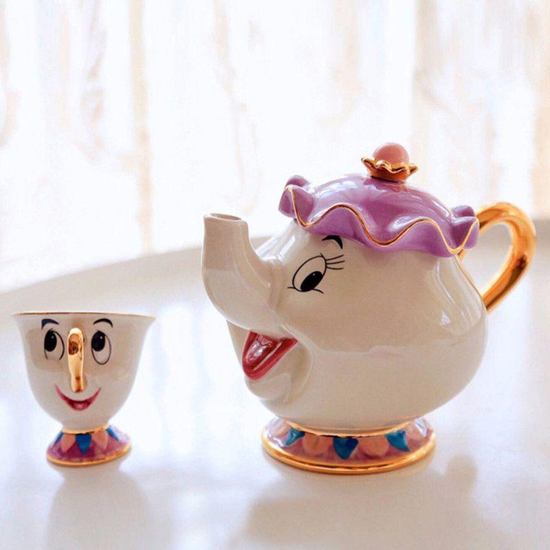 Dessin animé la belle et la bête théière tasse Mrs Potts puce thé Pot tasse céramique un ensemble belle mignon créatif cadeau de noël poste rapide
