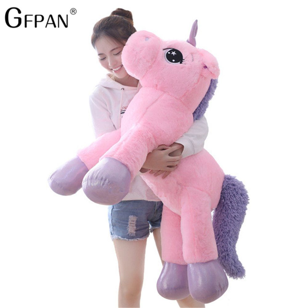 Giant 80/60cm Unicorn Plush Toy Soft Stuffed Popular Cartoon Unicorn Dolls Animal Horse Toy High Quality Toys for Children Girls