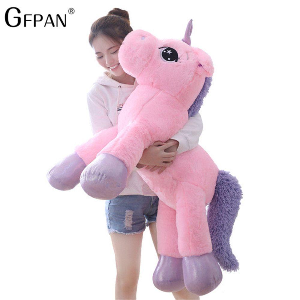 Géant 80/60cm licorne en peluche doux en peluche populaire dessin animé licorne poupées Animal cheval jouet de haute qualité jouets pour enfants filles