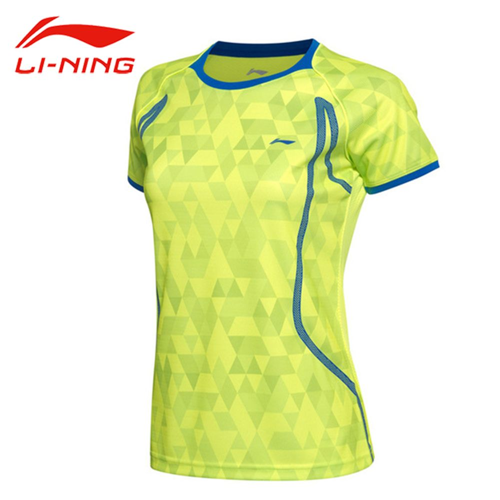 Li-Ning Women AT DRY Badminton Training T-Shirt Li Ning Breathable Light TShirts Quick Dry Polyester LiNing Sports Tee AAYM002