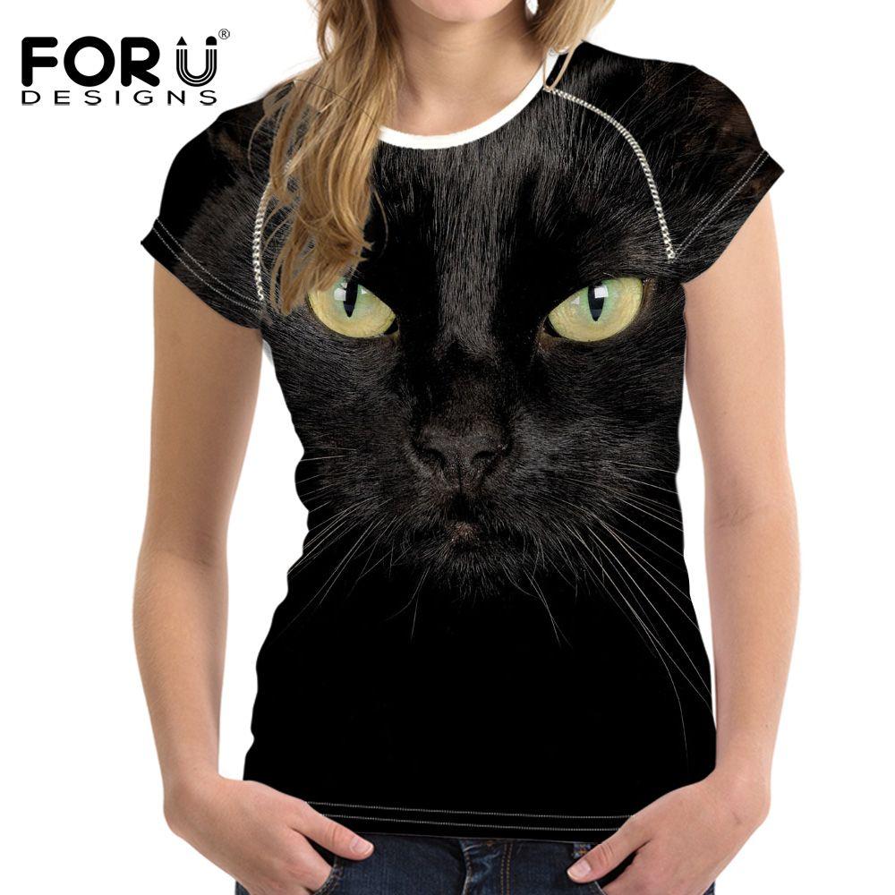 FORUDESIGNS noir 3D chat Animal décontracté été femmes T-Shirt Crop hauts femmes à manches courtes T-Shirt pour fille Roupa Feminina vêtements