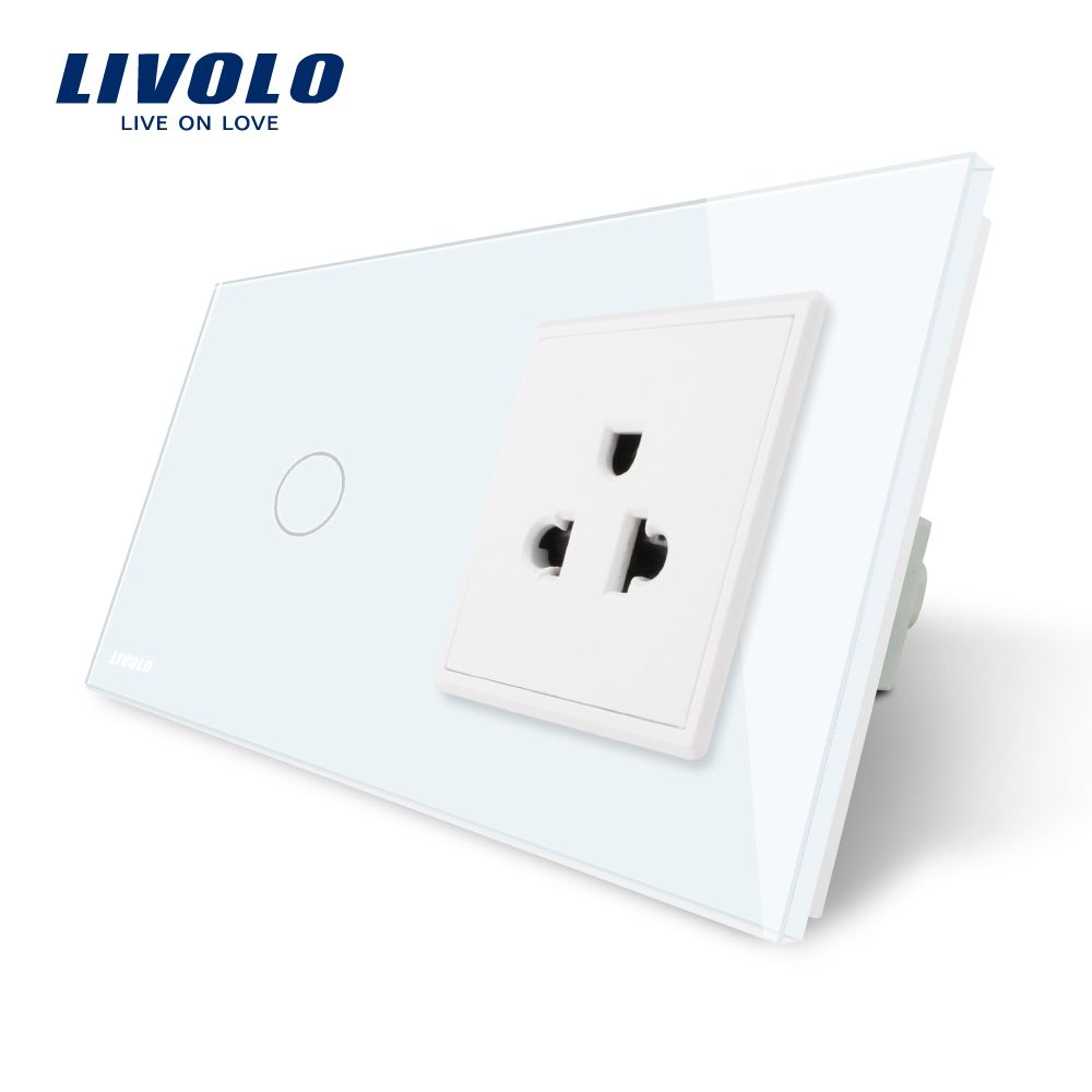 Livolo Touch Switch&US Socket,White Crystal Glass Panel, AC 110~250V,16A US Wall Socket with Switch,VL-C701-11/VL-C7C1US-11