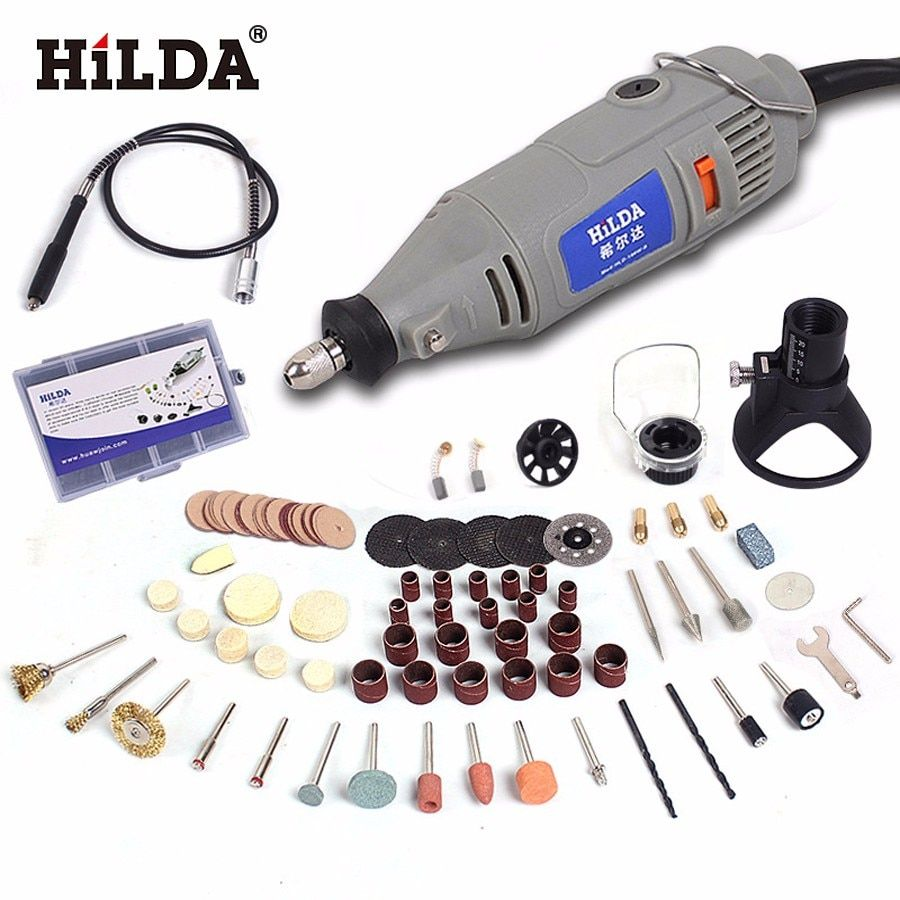 HILDA 220V 150W with 99pcs Accessories Electric Rotary Tool  Flexible Shaft Power Tools Variable Speed Mini Drill Power Tools