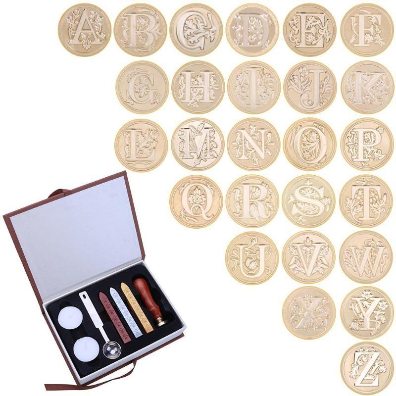 In Langlebig Box 26 Englisch Alphabete Metall Heißer Abdichtung Wachs Klar Briefmarken Set Dia 25mm Briefmarken Wachs Dichtungen Zarte cuprum Briefmarken