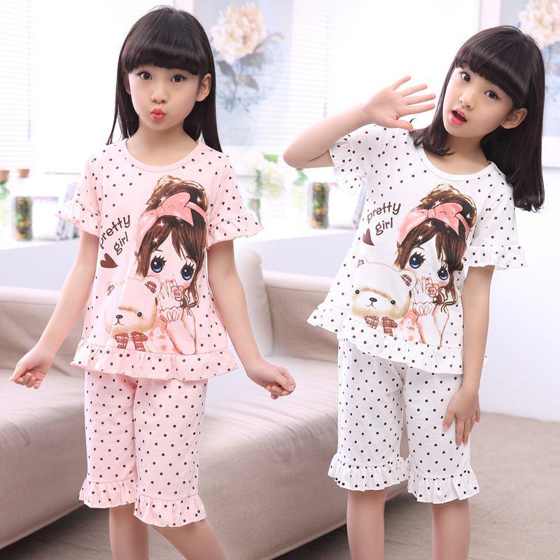 Летняя детская одежда для сна хлопковые короткие рукава рубашки и брюки костюм Обувь для девочек Семейные пижамы дети От 3 до 12 лет пижамы де...