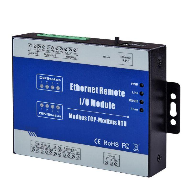 Modbus TCP Ethernet Datenerfassung Modul Remote IO Unterstützt 5 TCP Links impulszähler 12-36 V (4DI + 4DO + 4AI + 2AO)