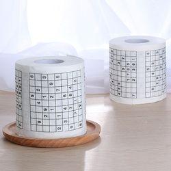 1 Rouleau 2 Plis Nouveauté Nombre Drôle Sudoku Imprimé WC De Bain Drôle de Toilette Mouchoir En Papier Salle De Bains Fournitures Jag Cadeau