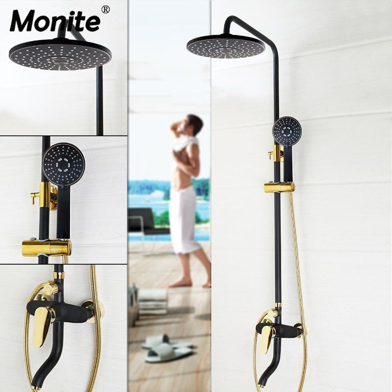 Luxury Golden Bathroom Rain Mixer Shower Combo Set Wall Mounted Rainfall Shower Head System Black Gold-plated Shower Faucet