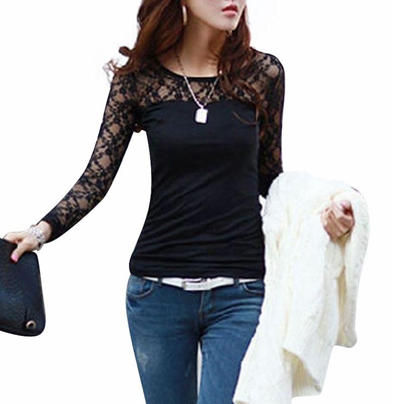 Blusas Femininas 2015 Printemps Automne Femmes Mode Sexy Slim Shirt Tops Dentelle À Manches Longues O-cou Loisirs Blouse Noir/Blanc S-2XL