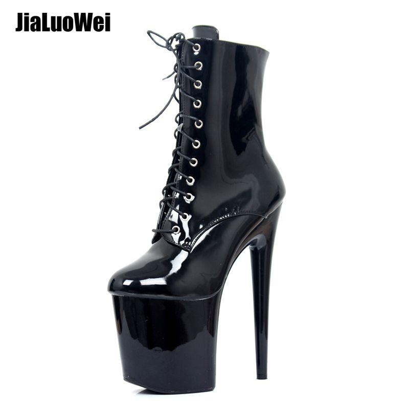 Jialuowei 20 CM Extreme Talons Plate-Forme Bottes Lace Up Pôle Danse Cheville Bottes Côté Zip Noir Plus La Taille