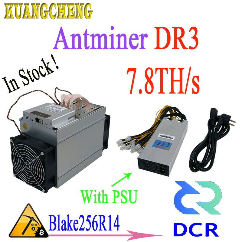 In stock! Newest Asic Antminer DR3 7.8TH/S Blake256R14 DCR Miner With 1800w PSU The benefit is better than antminer s9 Z9mini L3