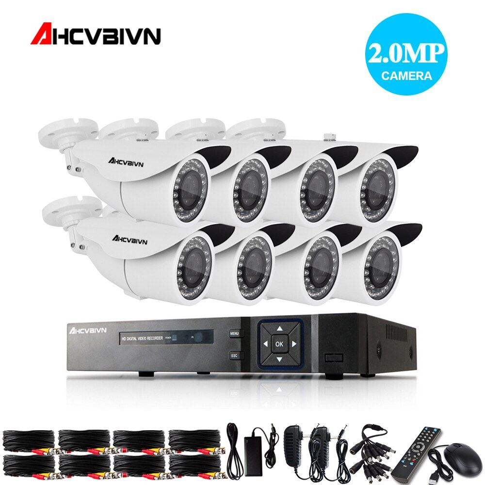 Home 8CH CCTV DVR System AHD DVR 1080P 2.0 Megapixels Enhanced IR Security Camera 3000TVL CCTV Camera Security System 1TB HDD