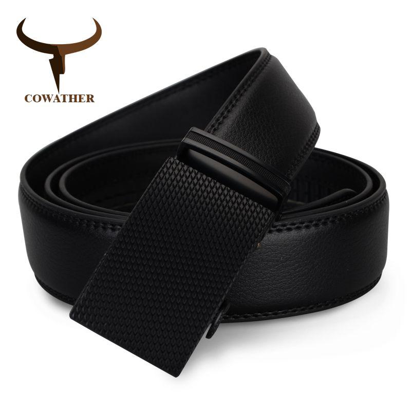 COWATHER de luxe top vache véritable ceinture en cuir hommes de haute qualité hommes ceintures automatique boucle ceinture pour sangle mâle livraison gratuite
