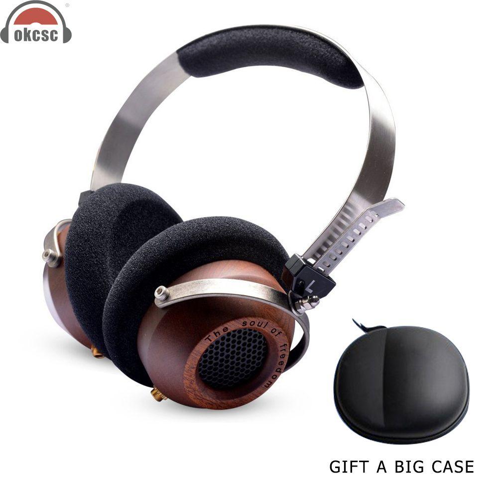 OKCSC Wooden Headphones DIY Open Voice Stereo Headset Earphones Retro-Vintage Style