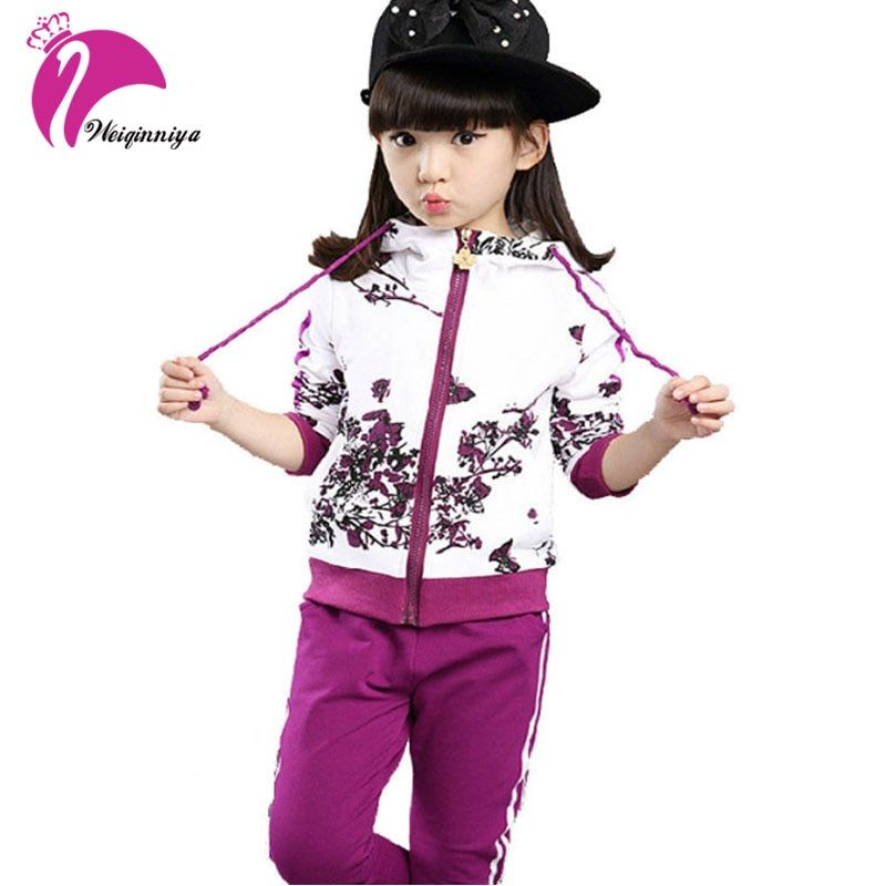 New Girls Sets Spring Autumn Baby Girls Clothes Jacket Floral Sports Hoodies+Pants <font><b>2Pcs</b></font> Sets Suit Children Girls Clothing Sets