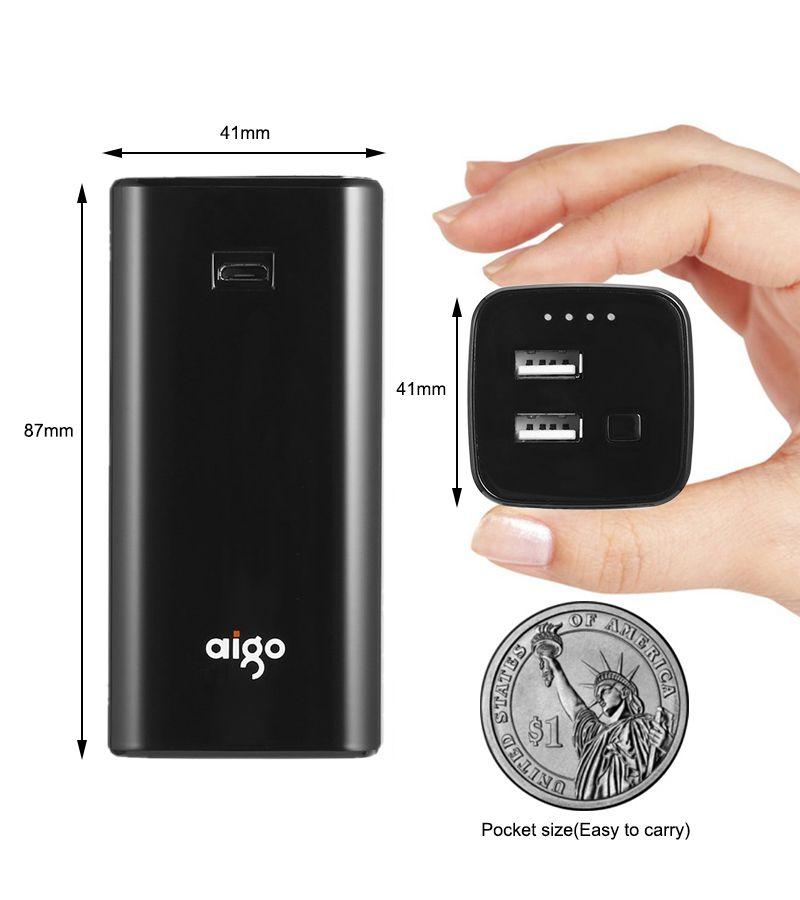 Aigo Plus Petite Puissance Banque 10000 mAh Double Sortie USB LED De Charge Indiquer Mobile Téléphone De Secours Externe Portable Batterie pour Iphone