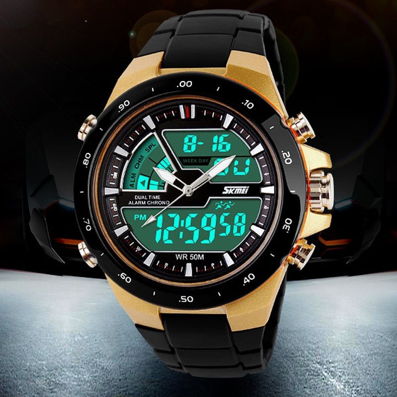 50M Waterproof Mens Sports Watches Relogio Masculino 2018 Hot Men Silicone Sport Watch <font><b>Reloj</b></font> S Shockproof Electronic Wristwatch