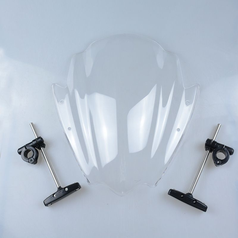 Universal Clear Motorcycle Street Bike Windshield Windscreen 7/8 & 1 Handlebar Mount For Harley Honda BMW Yamaha KTM