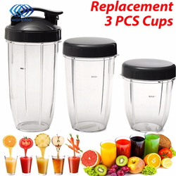 3Pcs Juicer Parts Kit Plastic+Rubber Grey+Transparent Replacement Cups 32Oz Colossal+24Oz Tall +Small Cup+3 Lids For Nutribullet