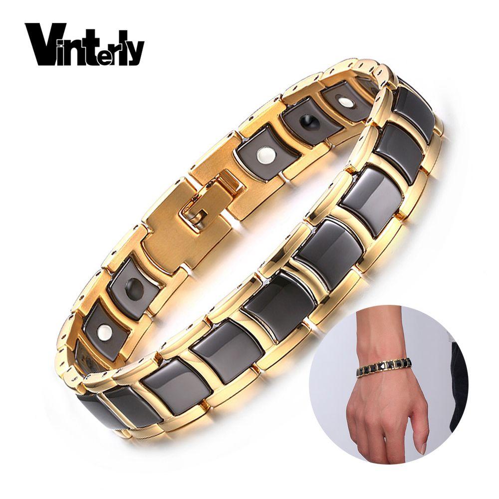 Vinterly Acier Magnétique Bracelet Mâle Noir En Céramique D'énergie Germanium Bracelets Hommes Main Chaîne Or Couleur Hologramme Bracelets 2018