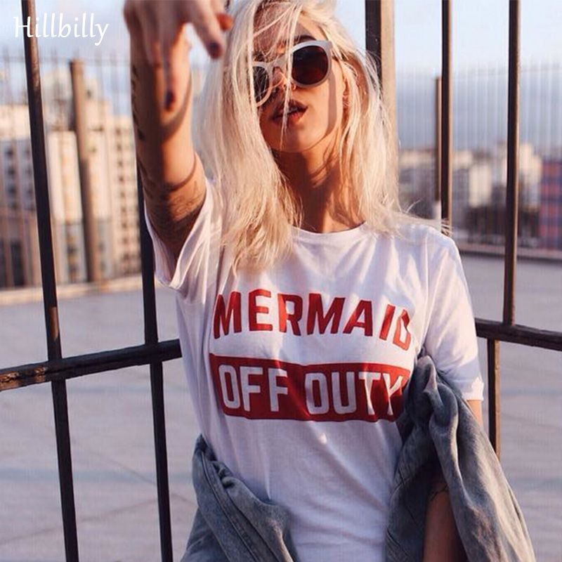 Hillbilly Red Letters Mermaid OFF Duty Brief T-shirts Frauen Mode Plus Size Street Wear Tees T-shirts Sommer 2017 Geschenk C1-41