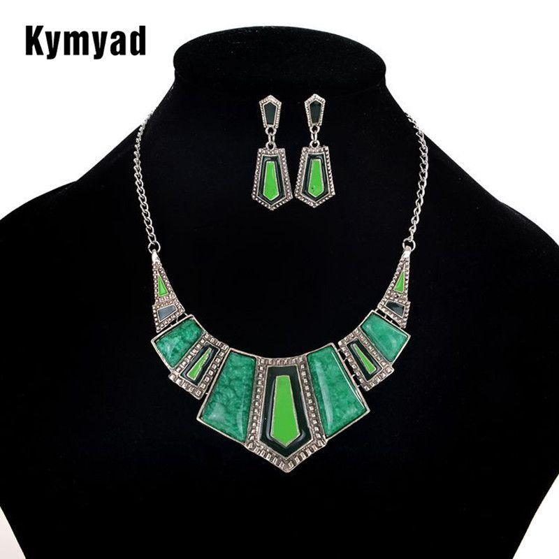 Sistemas de La Joyería Para Las Mujeres Artificial Kymyad Esmalte de Piedra Aretes Collar de Conjuntos de Cuatro Colores Declaración Collar de Bisutería Conjunto