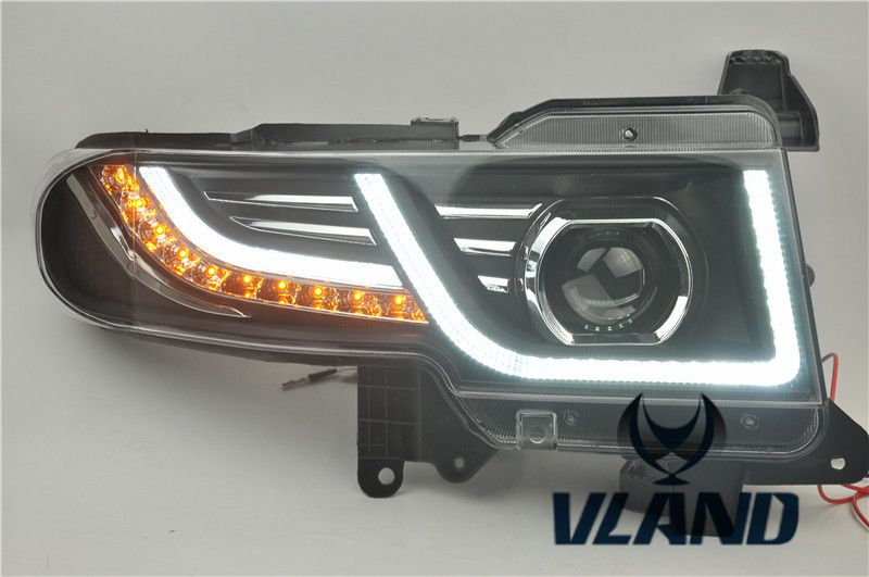 VLAND Factory for Car Head lamp for FJ Cruiser LED headlight 2007 2008 2014 LED head light H7 Xenon with Grille New design