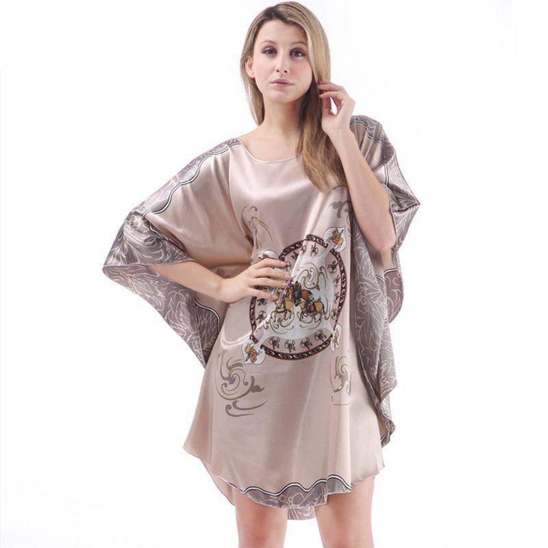 Dames Sexy En Satin de Soie Chemise Chauve-Souris manches Nuit Robe imprimé De Nuit de Couchage Robe Femmes Pyjama lingerie Peignoir