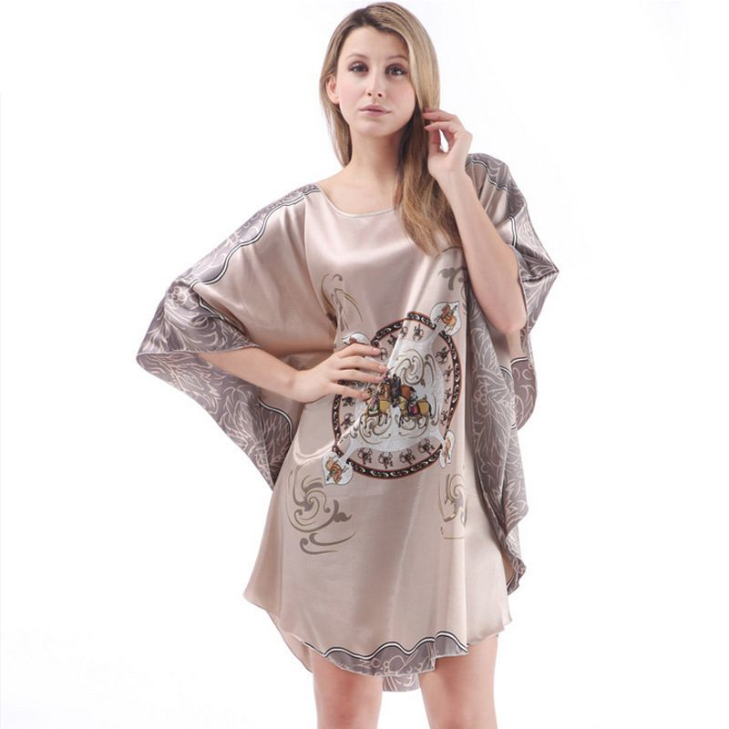 Dames Sexy soie Satin chemise de nuit manches chauve-souris robe de nuit imprimé vêtements de nuit robe de nuit femmes Pyjama lingerie peignoir