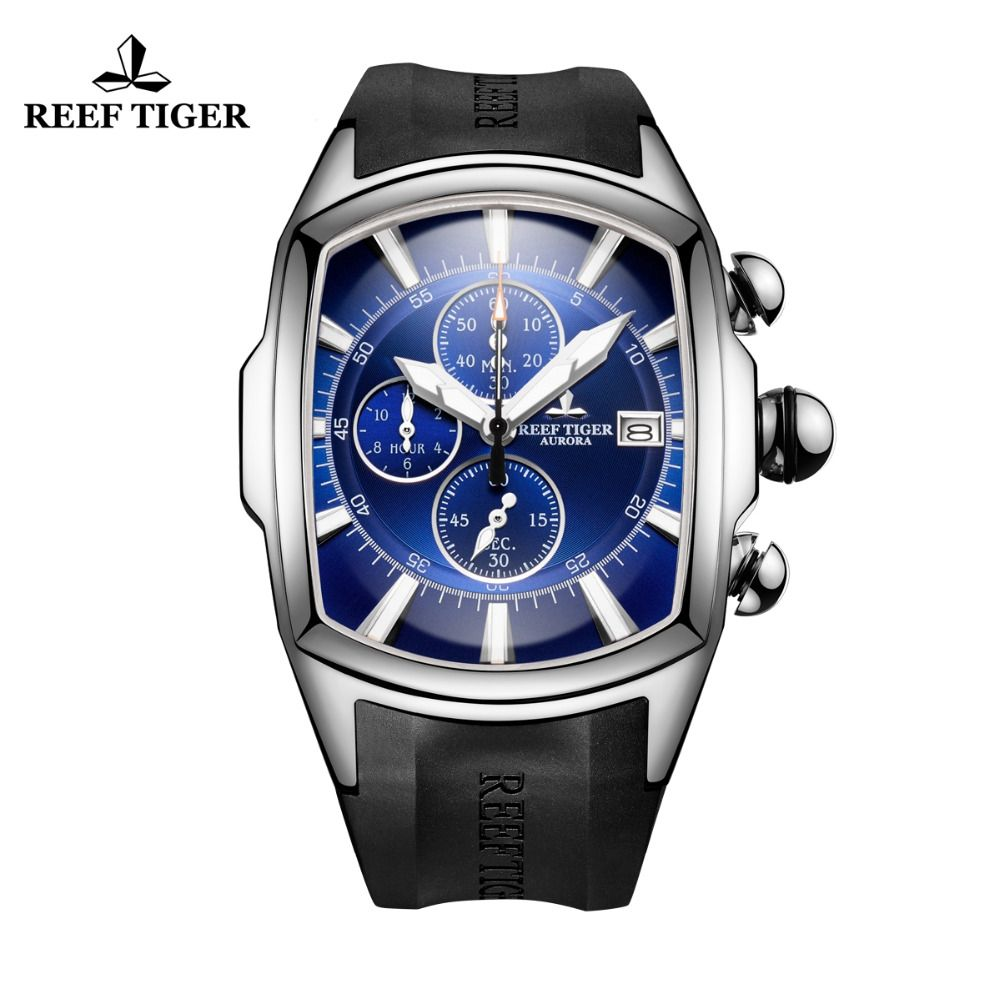 Reef Tiger/RT Big Sport Watches with Date Chronograph Waterproof Watches Stainless Steel Blue Dial Mens Watch RGA3069-T