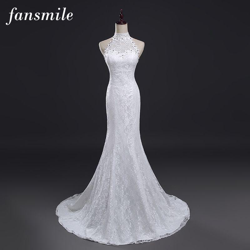 Fansmile Cheap Plus Size Sexy Mermaid Wedding Dresses 2017 Vintage Lace Gowns Princess Vestido de Novia Free Shipping FSM-281M