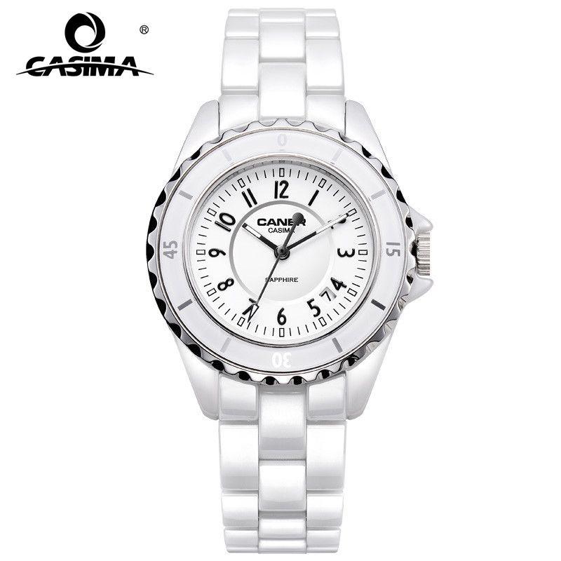 Marque de luxe femmes montres décontracté élégant en céramique blanc Quartz montre-bracelet femmes étanche 100 m CASIMA #6702
