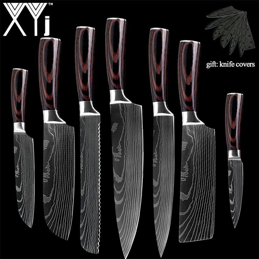 XYj nouveauté 2019 cuisine cuisine couteaux en acier inoxydable outil fruits utilitaire Santoku Chef trancheuse damas veines couteaux de cuisine